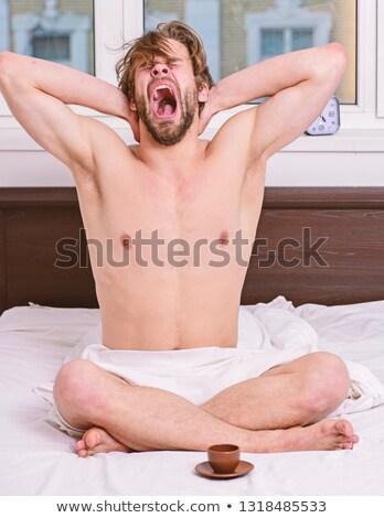 красивый · мужчина · спальня · лице · модель · домой - Сток-фото © wavebreak_media