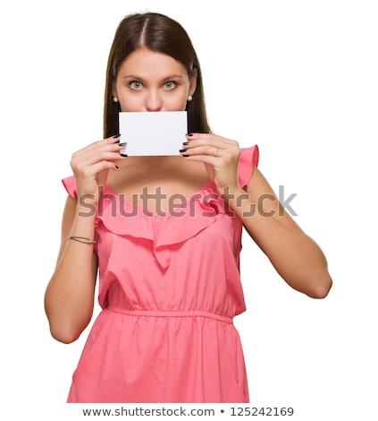 Stock fotó: Portré · nő · rejtőzködik · arc · fehér · kezek