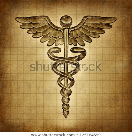 Caduceus on an old grunge parchment document as a vintage medical symbol and health care and medicin Stock photo © Lightsource