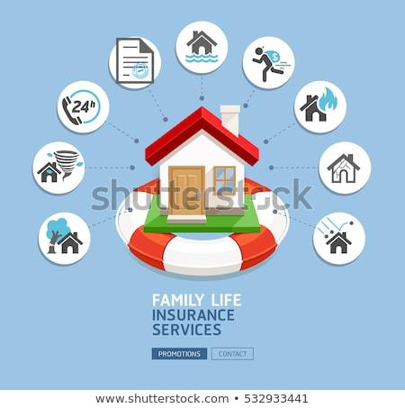 страхования · изолированный · 3D · изображение · белый · дома - Сток-фото © head-off