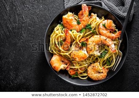 Tomate adornar camarón fondo buffet nutrición Foto stock © M-studio