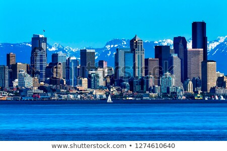 Seattle Skyline Puget Sound Cascade Mountains Washington State stock photo © billperry