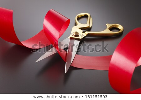 Red tape going to be cutted by scissors Stock photo © lunamarina