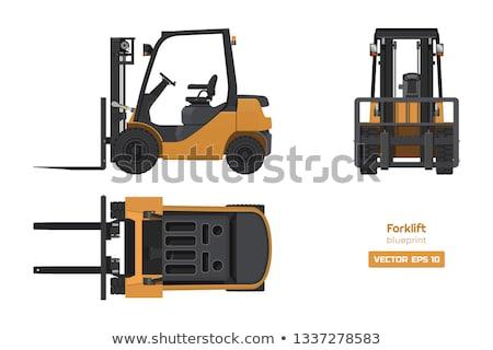 Pomarańczowy ciężarówka przemysłowych budynku niebieski Zdjęcia stock © tainasohlman