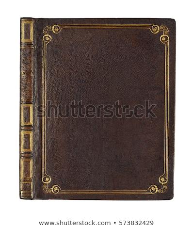 antique · cuir · isolé · blanche · livre - photo stock © pixelsaway