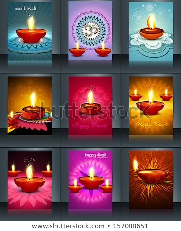 beautiful diwali card reflection brochure template illustration stock photo © bharat