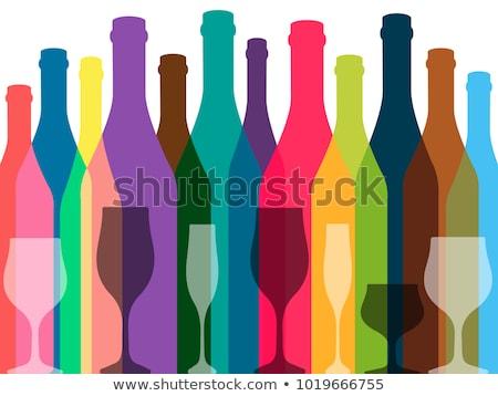 şişeler · gözlük · vektör · ayarlamak · alkol · su - stok fotoğraf © beaubelle