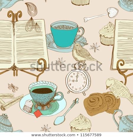 beker · thee · theepot · cake · tabel · plaat - stockfoto © elmiko