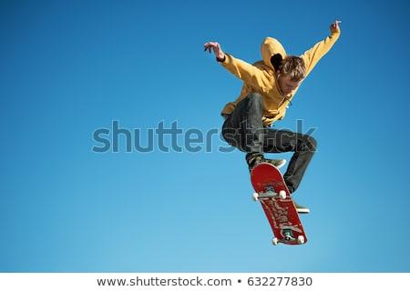 скейтбордист · прыжки · изолированный · белый · спорт · Skate - Сток-фото © nejron