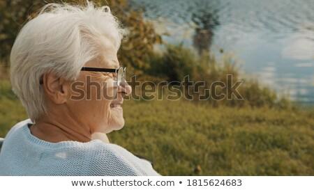 senior · mulher · cadeira · de · rodas · olhando · fora · janela - foto stock © monkey_business