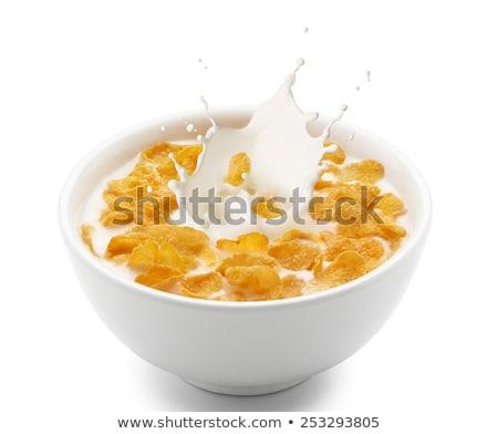 Healthy breakfast. Bowl with corn flakes. Stock photo © natika