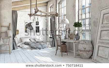 large bedroom interior with stairs and vintage furniture stock photo © vizarch