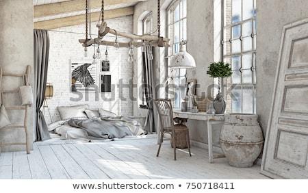 Nagy hálószoba belső lépcsősor klasszikus bútor Stock fotó © vizarch