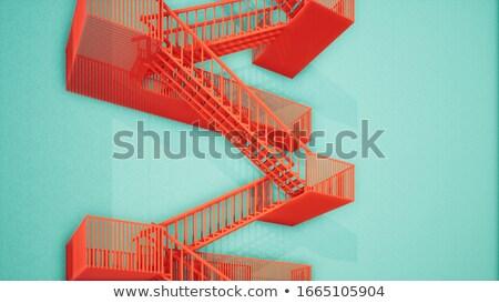 Fogo escapar escada sombra casa edifício Foto stock © c-foto