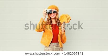 Photographer girl with camera Stock photo © Aleksangel