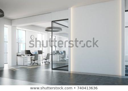 Interior modern confortabil birou lemn stradă Imagine de stoc © HASLOO
