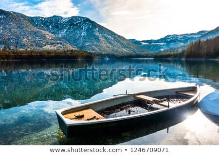 Oude roeiboot meer najaar Duitsland hout Stockfoto © haraldmuc