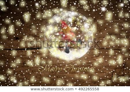 üveg hógolyó hangjegyek karácsonyi üdvözlet mintázott papír Stock fotó © marimorena