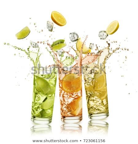 Splash glas water vruchten bubbels drop Stockfoto © wime
