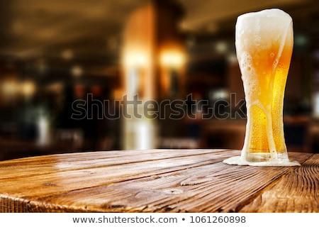 Sör asztal üveg fa asztal réteges illusztráció Stock fotó © DzoniBeCool