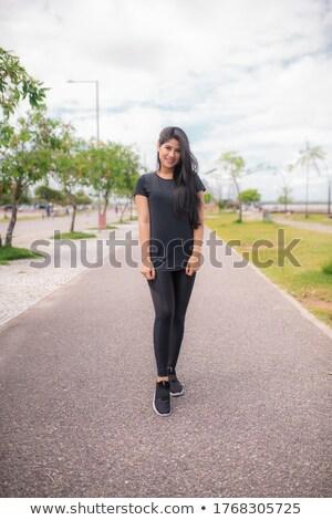 модный женщину позируют улице довольно девушки Сток-фото © bigjohn36