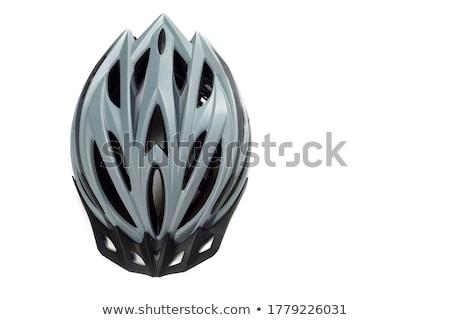 Stok fotoğraf: Silver Bike Helmet Isolated