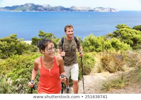 boldog · egészséges · nők · hegy · tájkép · aranyos - stock fotó © maridav