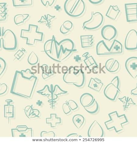 orvosi · ikonok · végtelen · minta · háttér · művészet · felirat - stock fotó © voysla