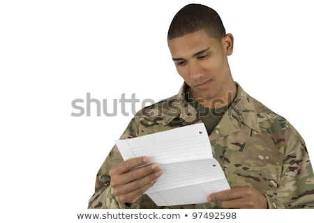 American soldier read a letter Stock photo © philipimage