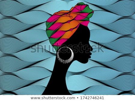 Mooie vrouw gekleurd tulband mooie modieus Stockfoto © dashapetrenko