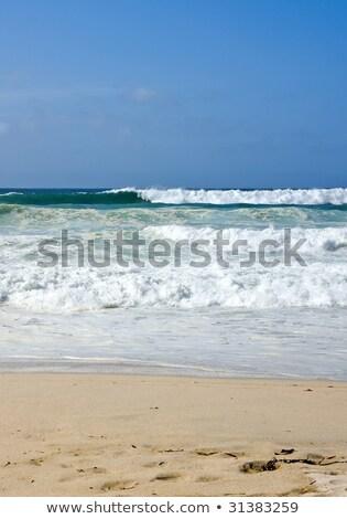 Durva hullámok tengerpart Cornwall égbolt víz Stock fotó © latent
