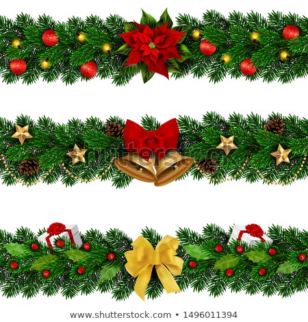 christmas border ribbons elegant white poinsettias stock photo © irisangel