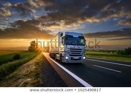 Foto stock: Caminhão · estrada · transporte · mercadoria · caminhões · azul