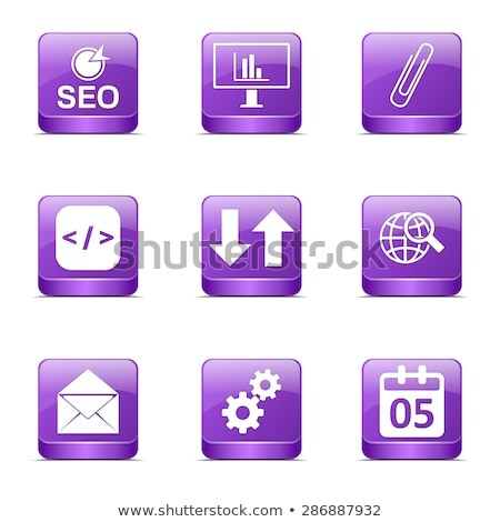 Stockfoto: Seo Internet Sign Square Vector Violet Icon Design Set 6