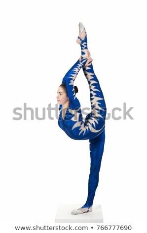 Acrobat woman in gymnast suit stretching Stock photo © deandrobot