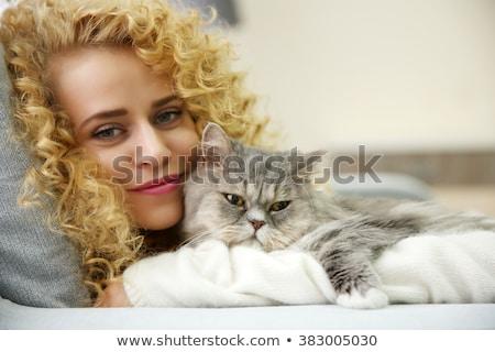 кошки · расслабляющая · саду · улыбка · лице · волос - Сток-фото © wavebreak_media