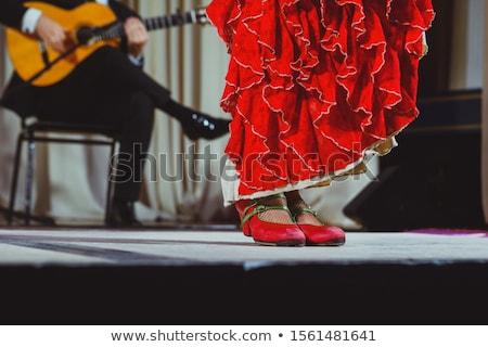 Young flamenco dancers in beautiful dress on black background. Stock photo © nenetus