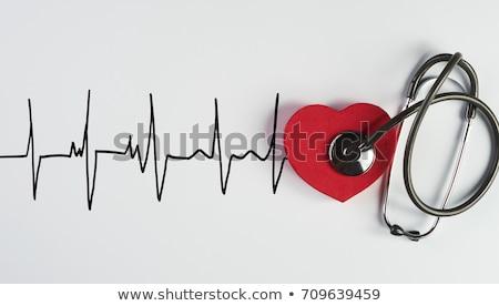 Estetoscópio cardiograma isolado branco papel médico Foto stock © tetkoren