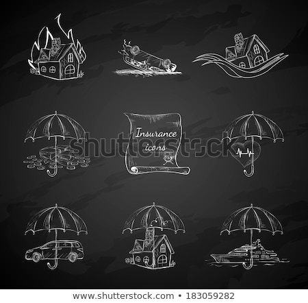 house insurance icon drawn in chalk stock photo © rastudio