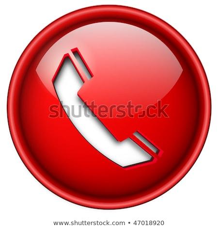Konuşmacı telefon kırmızı vektör ikon düğme Stok fotoğraf © rizwanali3d
