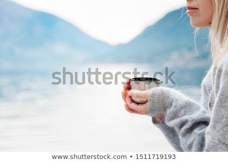 christmas woman on beach winter vacation stock photo © maridav