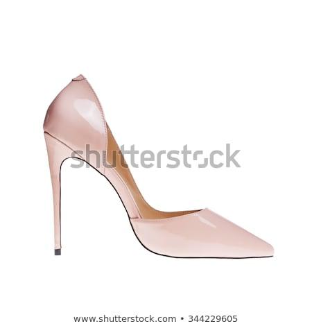 Fekete szabadalom magassarkú vágány cipő szexi Stock fotó © ozaiachin