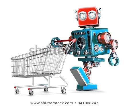Foto stock: Retro · robô · carrinho · de · compras · isolado · branco