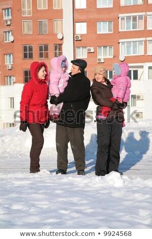 Stock fotó: Kettő · nő · nagyapa · gyerekek · séta · tél