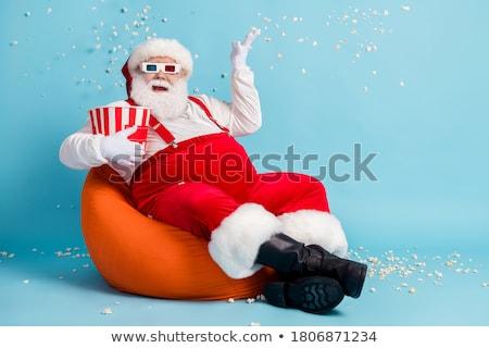 Papai noel saco de feijão amarelo sorrir inverno natal Foto stock © grivina