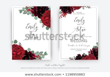 декоративный красный цветочный кадр цветок Сток-фото © jul-and