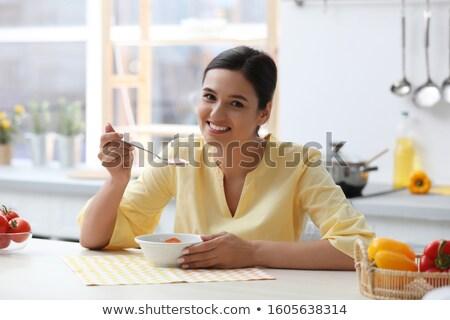 Vers smakelijk groentesoep witte kom voedsel Stockfoto © deandrobot