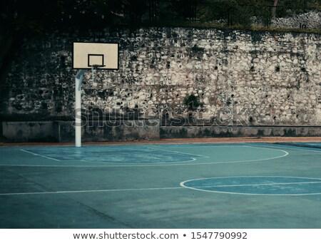 Basketballplatz · net · Himmel · Hintergrund · Fitnessstudio · blau - stock foto © sirylok