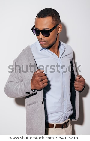 jólöltözött · fiatalember · stúdiófelvétel · fehér · arc · férfi - stock fotó © nickp37