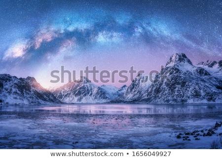 Pôr do sol inverno montanhas coberto neve árvore Foto stock © vapi